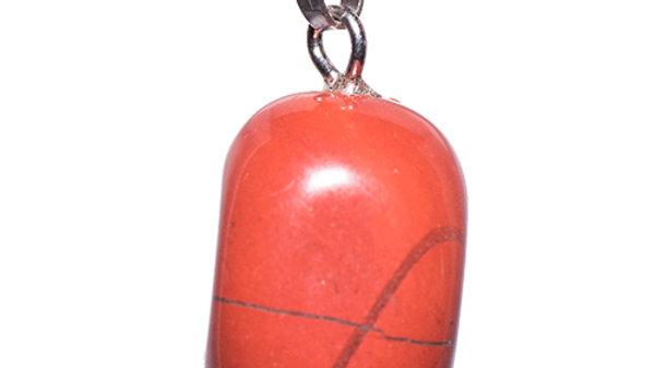 Pendentif en pierre roulée Jaspe rouge bélière