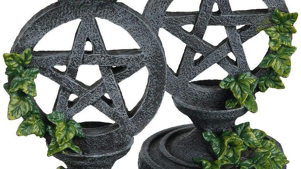 Bougeoir pentacle noir
