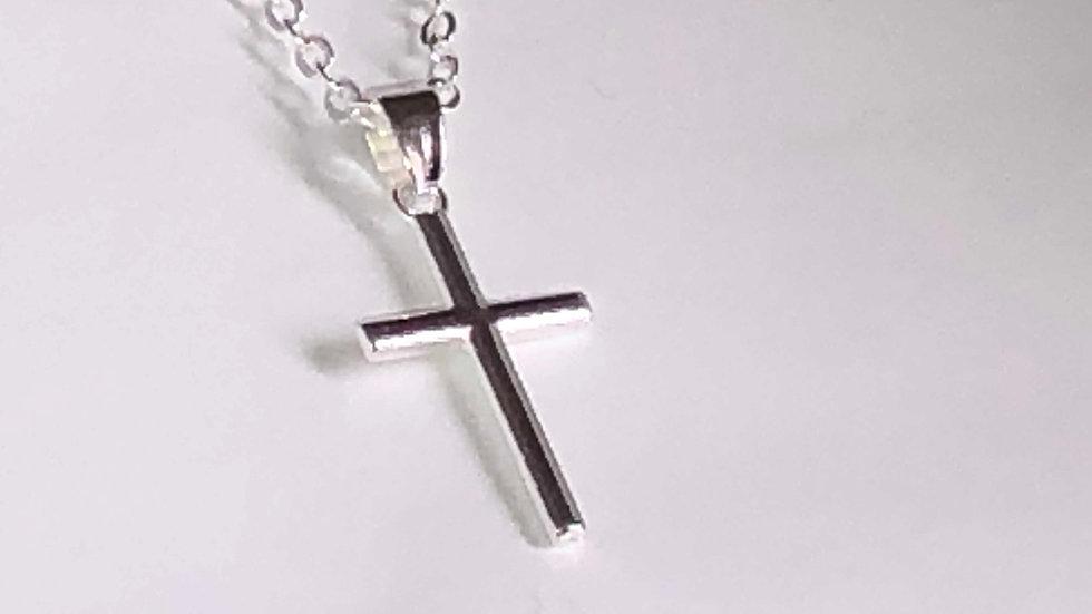 Crucifix métal argenté avec sa chaîne