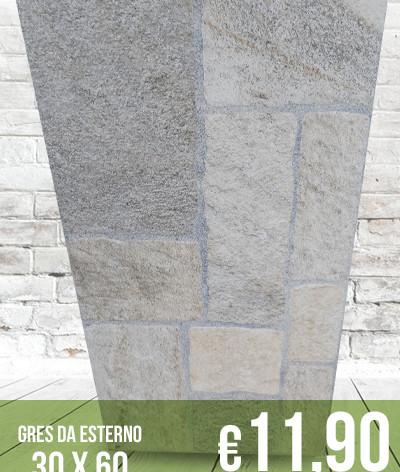 Gres porcellanato rettificato da esterno 30 x 60 | Effetto pietra