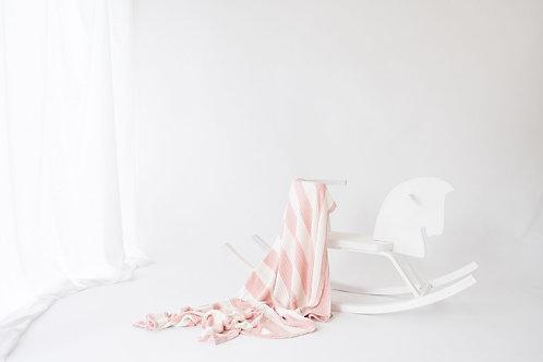 Knitted Pram Blanket - Blush