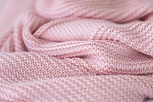 Large Knitted Blanket - Blush