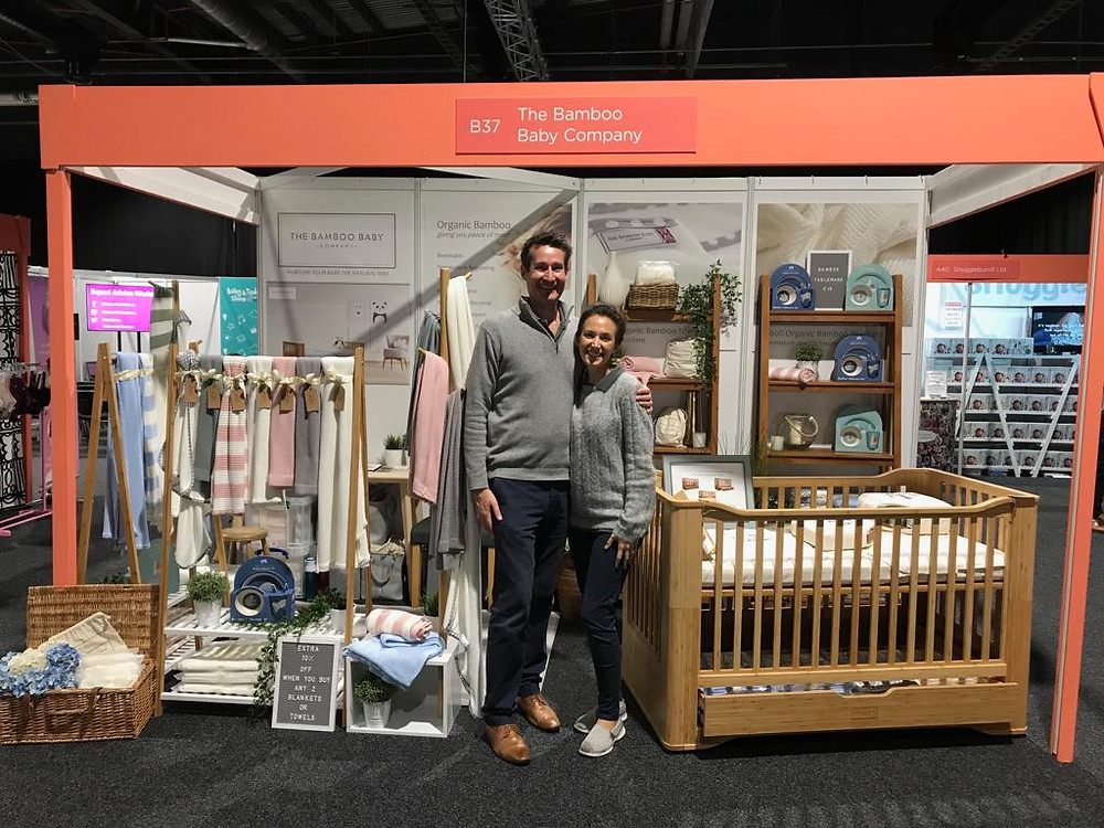 The Bamboo Baby Company exhibition stand at The Baby and Toddler Show, Manchester, Sept 2019