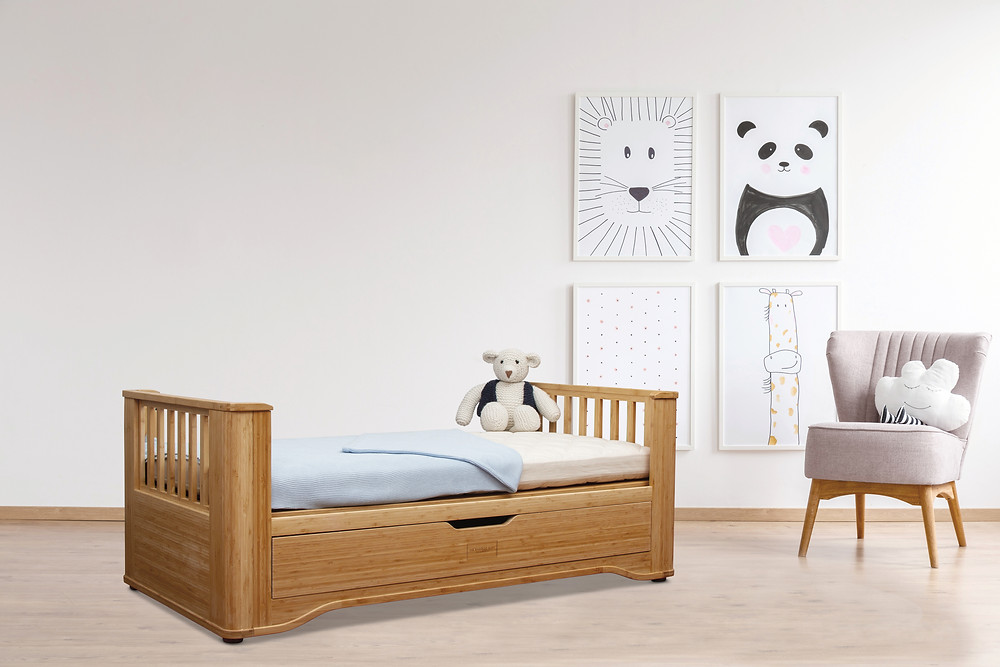 Solid organic bamboo toddler bed, from birth up to 5 years old. Chemical free, eco-friendly, sustainable.