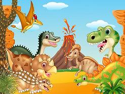 dibujos-animados-feliz-dinosaurios-volca