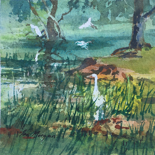 Egrets at Waterhole - Artist: Ira Morgan