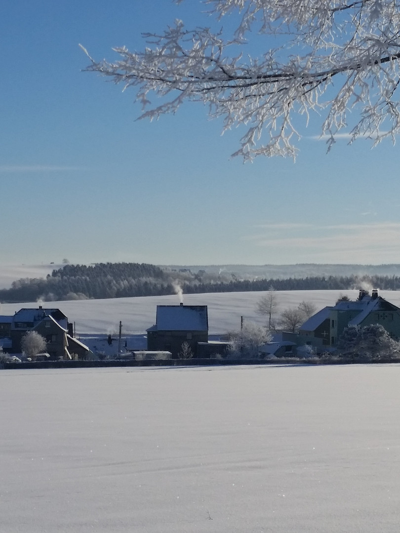 Winterliche Impressionen mit Blick zur Ferienwohnung