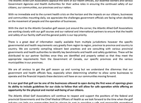 Industry Statement for Golf in Atlantic Canada