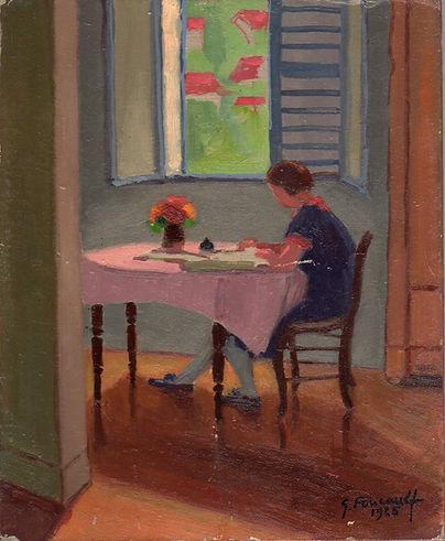 Jeanne à l'étude  (huile sur toile 22 x 27)