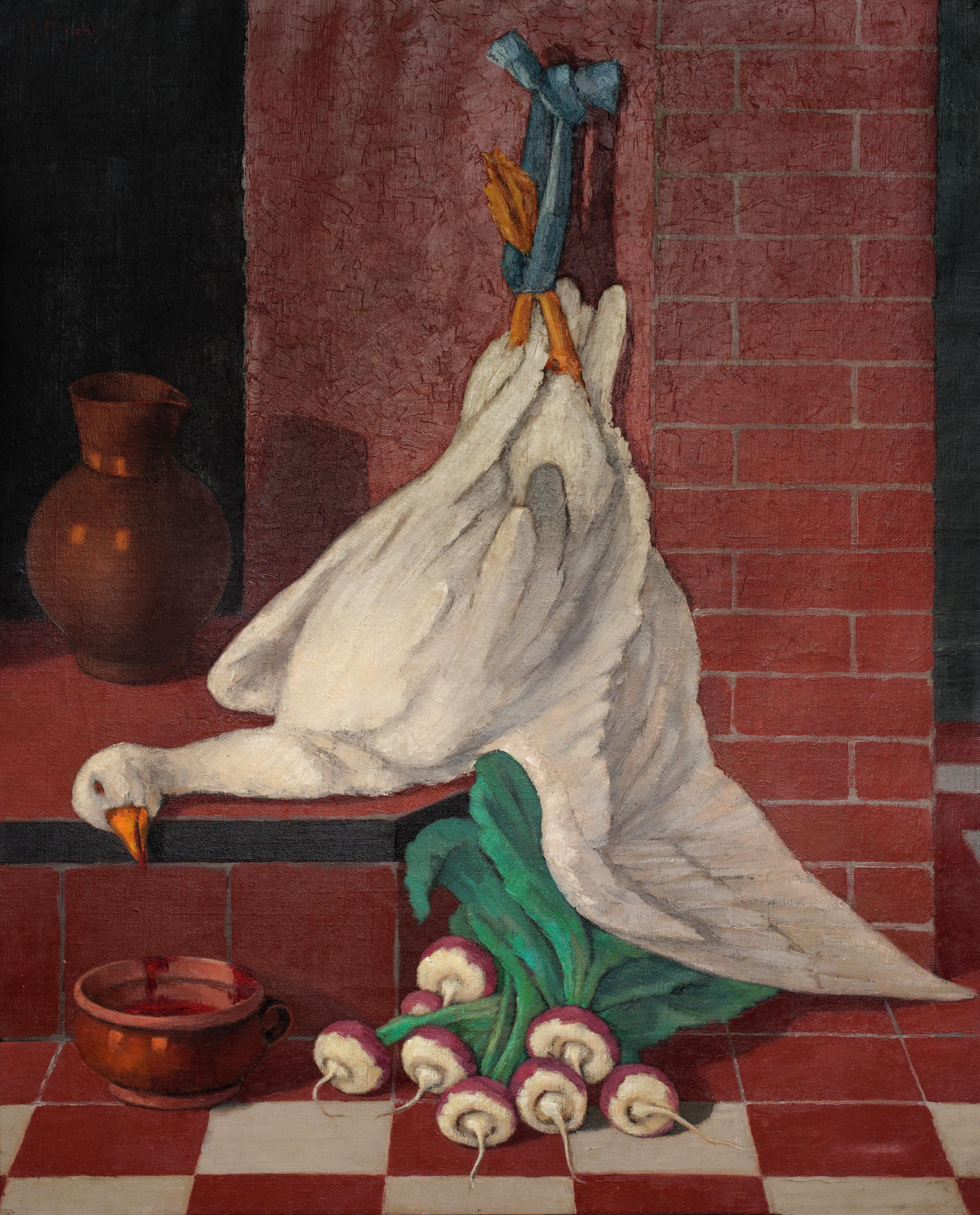 Oie à la cheminée (huile sur toile 81 x 100)