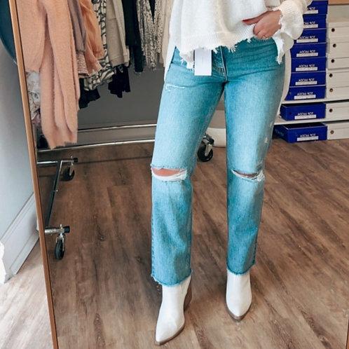 Distressed Slim Straight Jeans- Restock