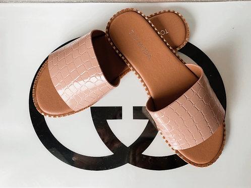 Nude Croc Print Sandals