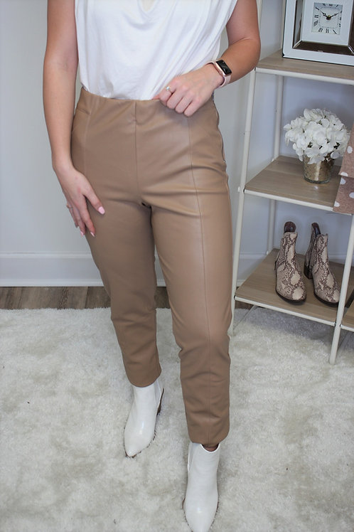 Taupe Faux Leather Pants