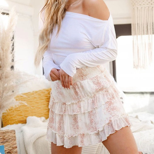 Soft Print Tiered Skirt