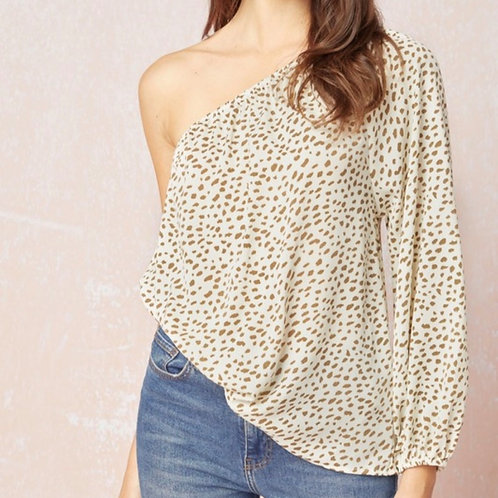 Spotted One Shoulder Blouse