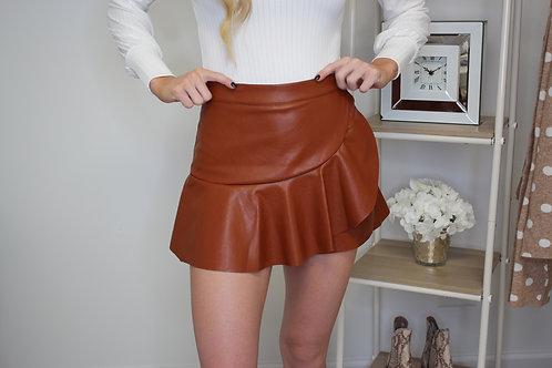 Leather Ruffle Skort