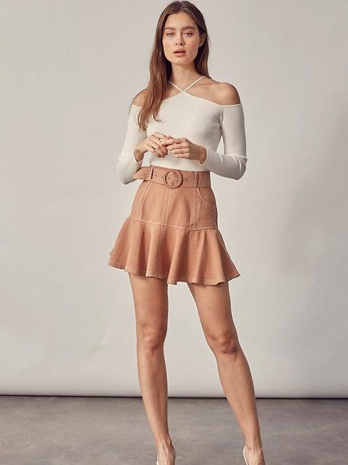 Camel Belted Skirt