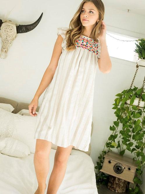 Tan Stipe Dress
