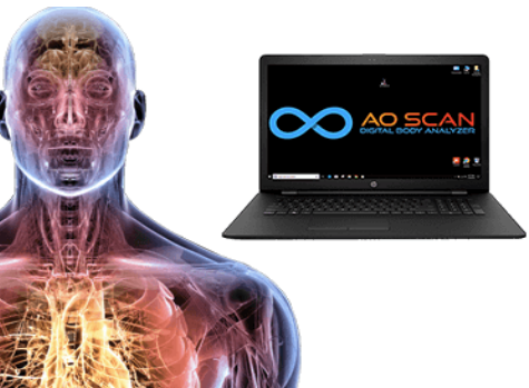 How does the AO Scan Digital Body Analyzer measure the body's response to frequency?