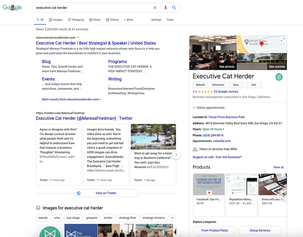 Sample Google My Business Page