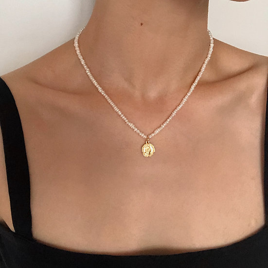 16K GOLD PLATED COIN PEARL NECKLACE