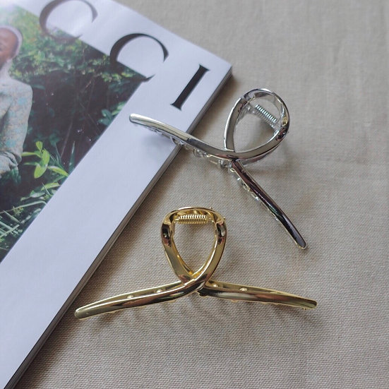 SILVER & GOLD TWIST CLAW CLIP