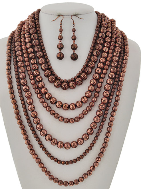 Multilayered Copper Necklace & Earrings Set