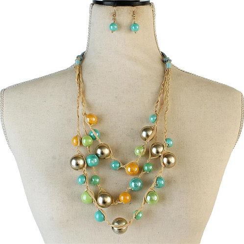 Fashion Straw Braided Necklace & Earring Set (Multi)