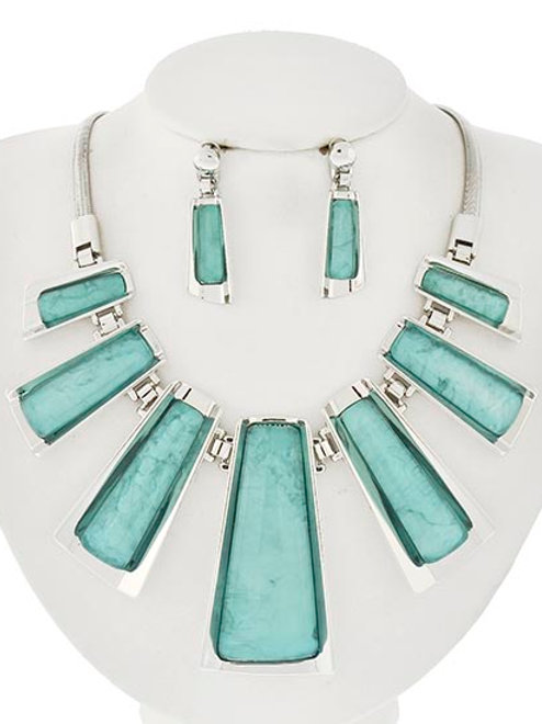 Silver Acrylic Plates Necklace & Earrings Set (Turquoise)