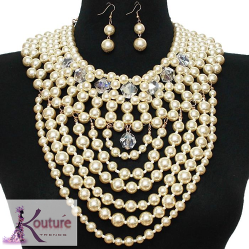 """""""Lady O"""" Pearls Statement Necklace & Earrings Set"""
