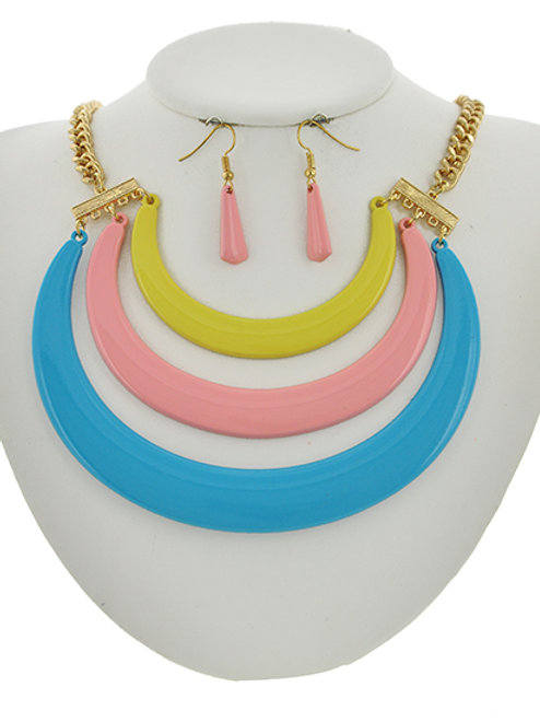 Crescent Moon Statement Necklace & Earrings Set