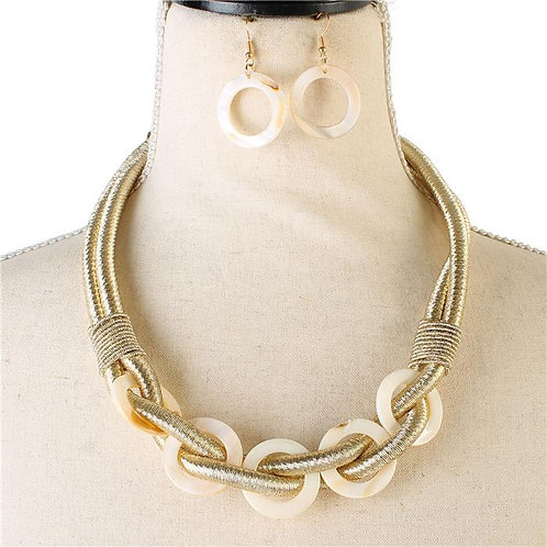 Shell Fashion Opal Necklace & Earring Set (Gold)