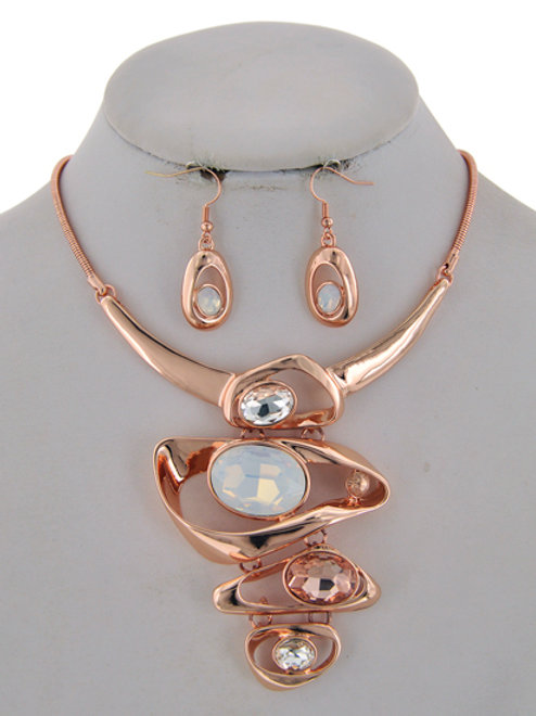 Oval Rings Statement Necklace & Earrings Set (Rose Gold)