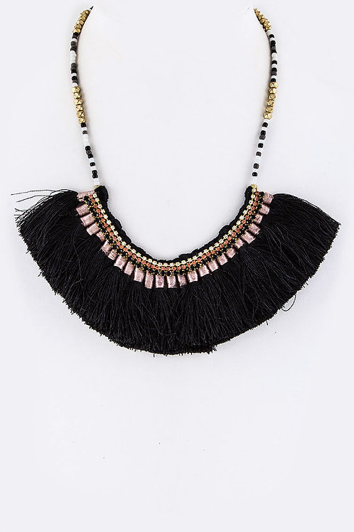 Mixed Beads Tassels Statement Necklace