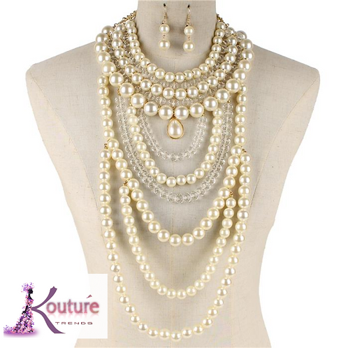 """""""Lady"""" Pearls Statement Necklace & Earring Set"""