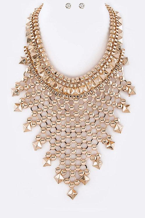 Statement Bib Necklace & Earring Set (Gold)