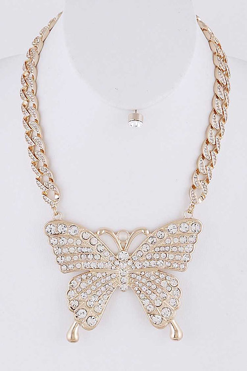 Oversized Butterfly Crystal Chunky Necklace & Earring Set (Gold)