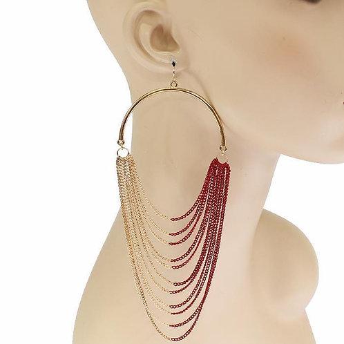 Chain Drop Hoop Earrings