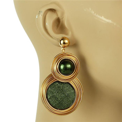 Semi Stones Wired Round Earrings (Gold/Hunter)