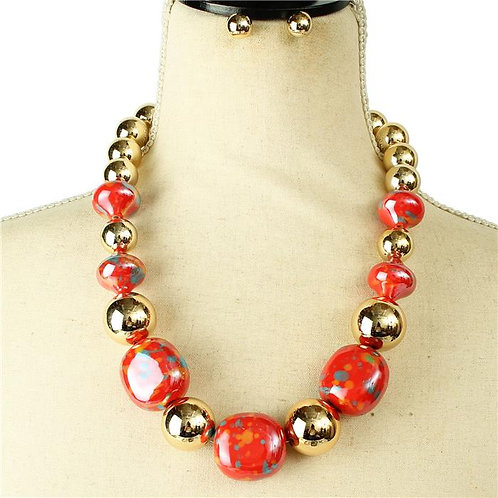 Fashion Glass Painted Necklace & Earring Set (Red)