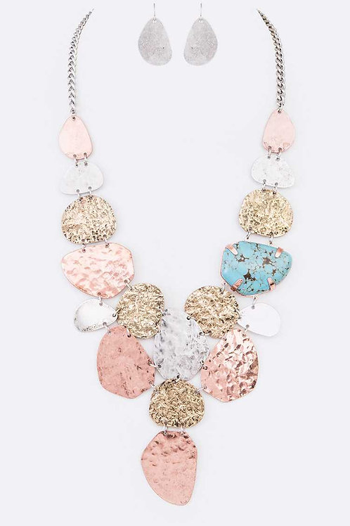 Mixed Plates Stone Bib Statement Necklace & Earrings Set (Multi)
