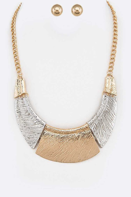 Two-tone Statement Metal Bob Necklace & Earring Set (Gold/Silver)