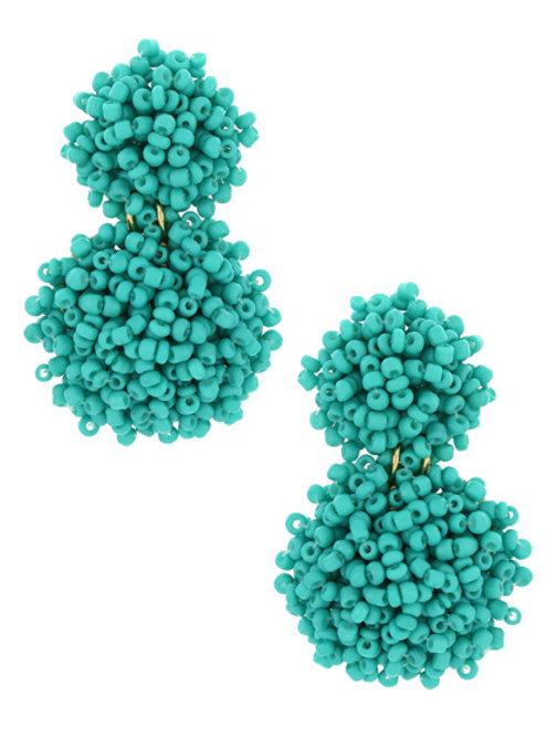 Festive Seed Beads Earrings (Turquoise)