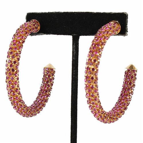 Rhinestone Pink/Gold Metal Hoop Earrings