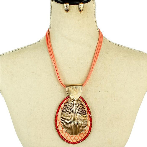 Fashion Oval Necklace & Earrings Set (Coral/Gold)
