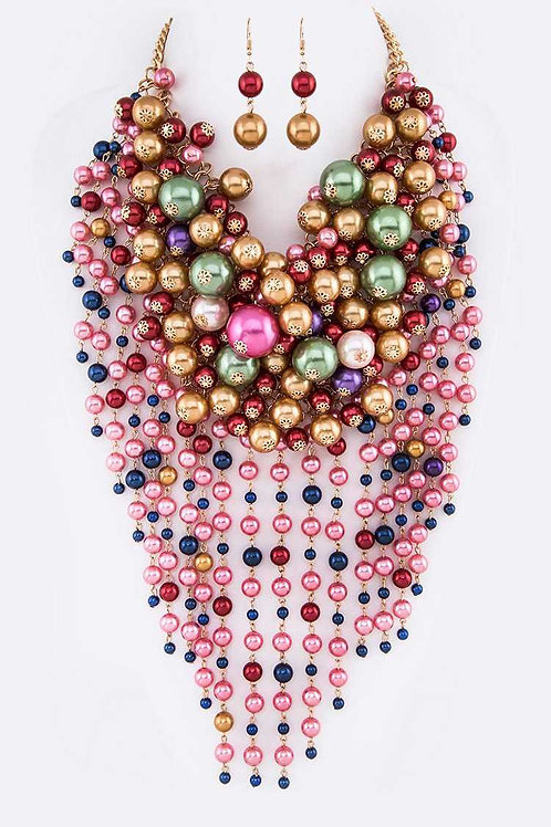 Head-Turner Statement Mixed Pearl Necklace & Earrings Set (Pink/Multi)