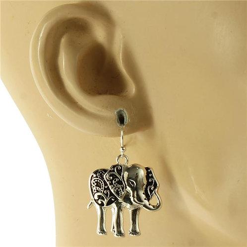 Silver Elephant Earrings