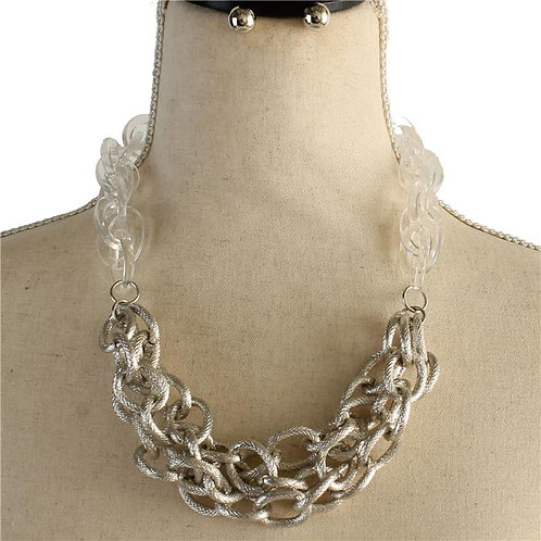 Chain Link Two Tone Necklace & Earring Set (Silver/Clear)