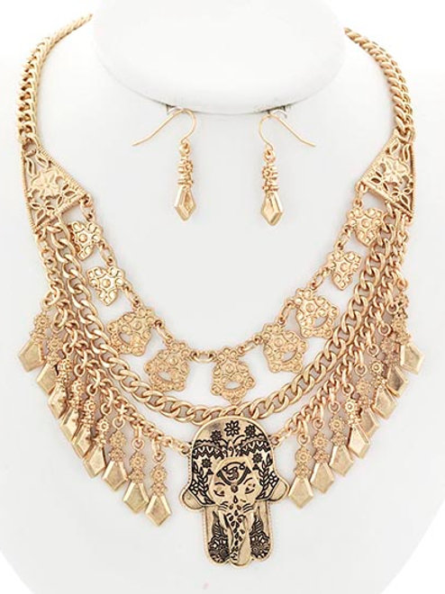 Gold Whimsical Layered Necklace & Earrings Set