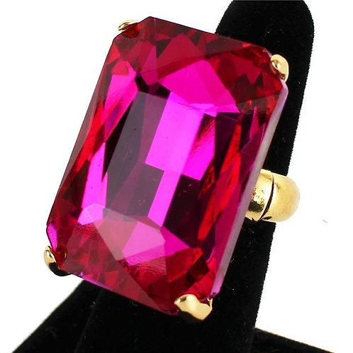 Oversized Square Crystal Ring (Fuchsia)